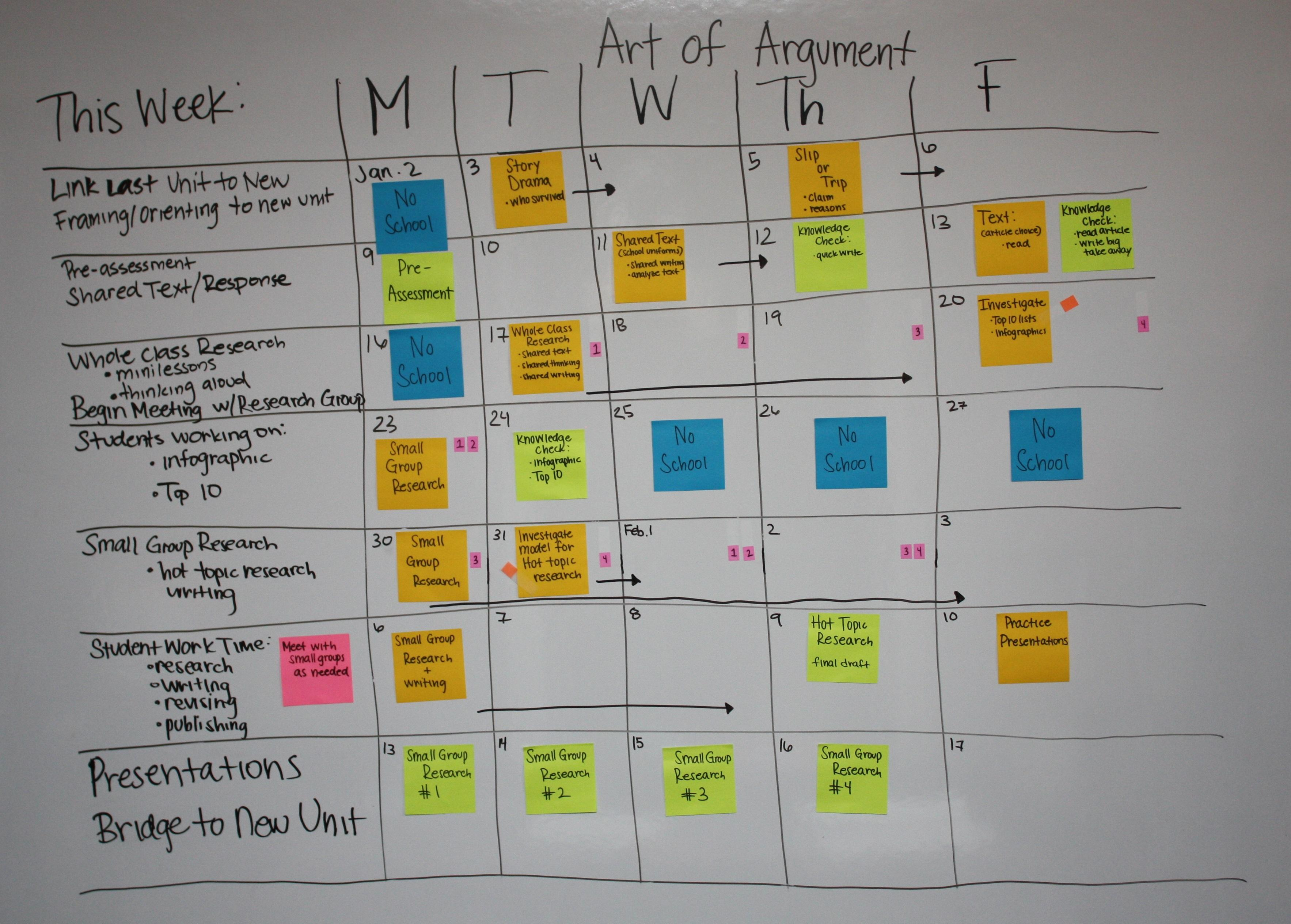 Sample Planning Calendar   Sample Unit Planning Calendar Six Week Unit Sage Companion